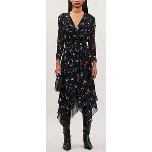 Maje Rayema Floral-print Chiffon Midi Dress